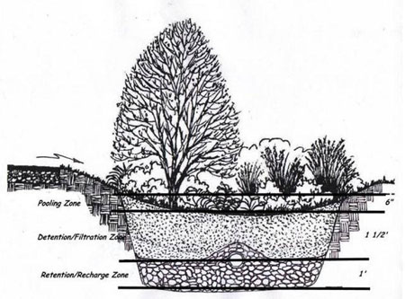 drawing of cross-section of drainage